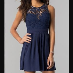 Embroidered-Lace-Bodice Short Homecoming Dress